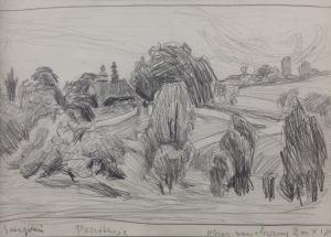 Stanisław KAMOCKI (1875-1944), Widok na wieś Paczółtowice – szkic do obrazu, [ok. 1908]