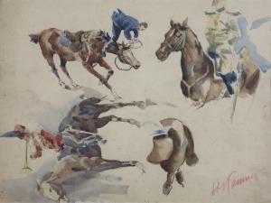 Stanisław KAMOCKI (1875-1944), Studia konia, torsu oficera na koniu, trębacza armii, upadek z konia, [ok. 1894]
