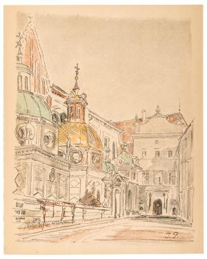 Ignacy PIEŃKOWSKI (1877-1948), Fragment katedry z kaplicą Zygmuntowską