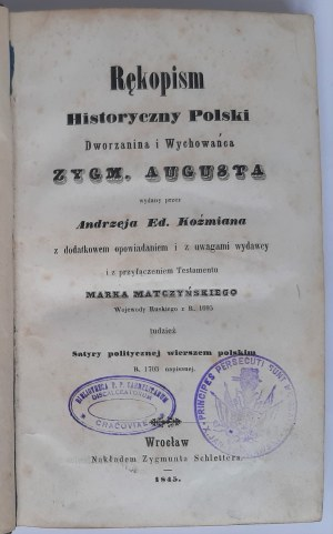 Rękopism Dworzanina Króla Zygmunta Augusta, Wrocław 1845