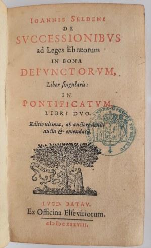 Ioannis Seldeni De Svccessionibvs, Ex Officina Elseviriorum, 1638
