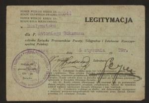 Legitymacja członka Związku Pracowników Poczty, Telegrafów i Telefonów Rzeczpospolitej Polskiej
