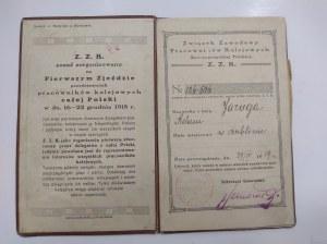 Legitymacja Członkowska Związku Zawodowego Pracowników Kolejowych 1919 r.