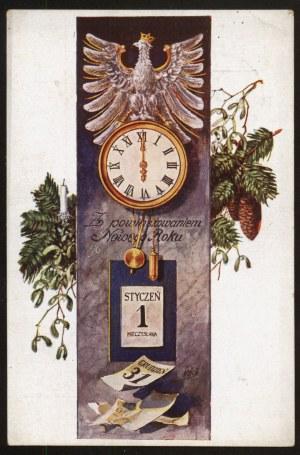 Z powinszowaniem Nowego Roku (Orzeł i zegar)