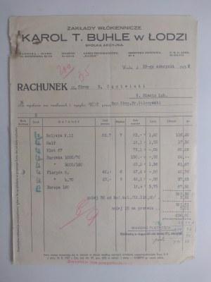 Rachunek wystawiony przez Zakłady Włókiennicze Karola T. Bule w Łodzi
