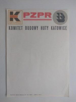 Druk firmowy PZPR przy Komitecie Budowy Huty Katowice 1976 r.