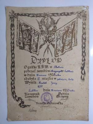 Chełm/ Lublin/ Radom, Dyplom sportowy 18.06 1933 r.