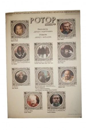 POTOP [1974] reż. J. Hoffman, miniatury aktorów, Panavision, rozmiar ok. 58 x 83,5cm