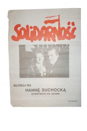 SOLIDARNOŚĆ Głosuj na Hannę Suchocką, plakat zdjęcie z Lechem Wałęsą