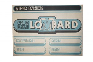 LOMBARD plakat ESTRADY POZNAŃSKIEJ z informacją o koncercie 1981 rok, początki grupy