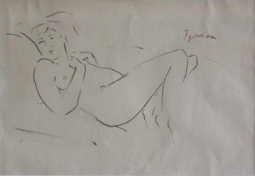 Tymon Niesiołowski91882-1965),Akt leżący z podkurczonymi nogami