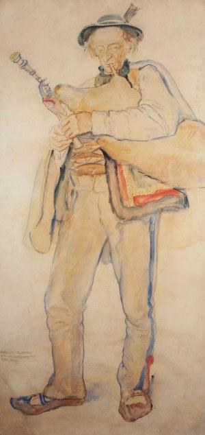 Władysław Jarocki (1879 Podhajczyki/Ukraina - 1965 Kraków), Góral z kobzą, 1917 r.