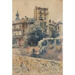 Tadeusz Cieślewski (1870 Warszawa-1956 tamże), Warszawa, ulica Kanonia od strony Wisły