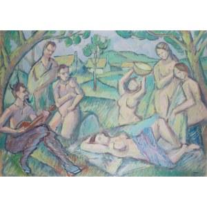 Wacław Taranczewski (1903 Czarnków - 1987 Kraków), Bożek Pan z nimfami, l. 30.