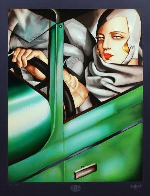 Tamara Łempicka (1898 Warszawa - 1980 Cuernavaca, Meksyk), Autoportret w zielonym Bugatti