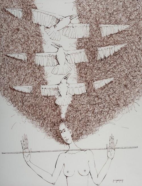 Waldemar J. Marszałek (ur. 1960 Dobrzyca na Pomorzu), Z cyklu Wariacje z ptakami, 2014 r.