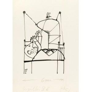 Jerzy Flisak (1930 Warszawa - 2008 tamże), Złamana noga, ilustracja do Szpilek 36