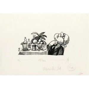Jerzy Flisak (1930 Warszawa - 2008 tamże), Przy stole, ilustracja do Szpilek nr 31