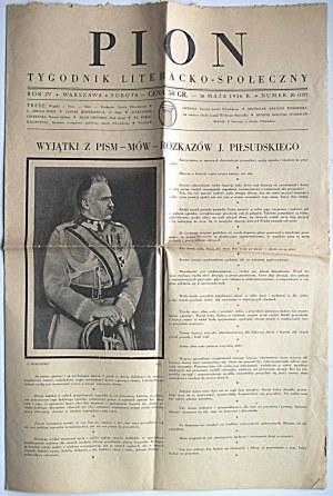 PION. Tygodnik Literacko - Społeczny. W-wa, 16 mają 1936. Rok IV. Nr 20 (137). Wydawca ...
