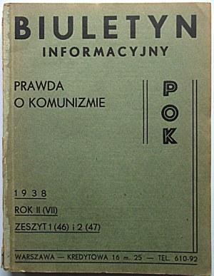 PRAWDA O KOMUNIZMIE. Biuletyn Informacyjny. Rok II (VII). Obejmuje zeszyty od 1 (46) do 8 (53). W-wa 1938...