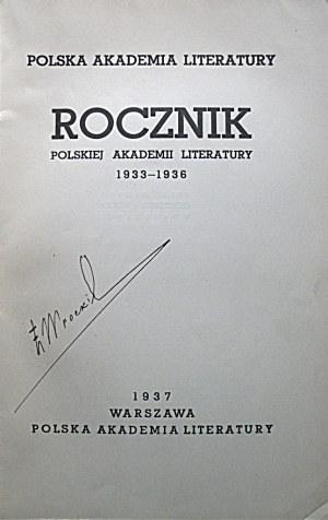ROCZNIK POLSKIEJ AKADEMII LITERATURY 1933 - 1936. W-wa 1937. Polska Akademia Literatury. Druk. Techniczna Sp...
