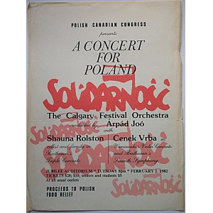 [AFISZ]. Polish Canadian Congress presents A Concert For Poland Solidarność...