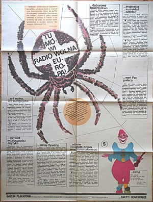 GAZETA PLAKATOWA. Tu mówi Radio Wolna Europa! W-wa 1982. Wydawnictwo i druk jak wyżej. Format 62/80 cm...
