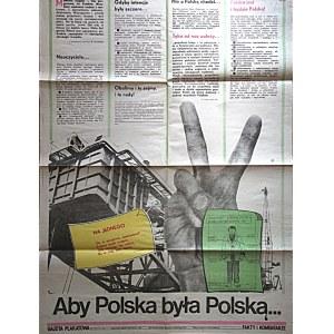 GAZETA PLAKATOWA. Aby Polska była Polską...W-wa 1982. Wydawnictwo i druk jak wyżej. Format 62/80 cm...