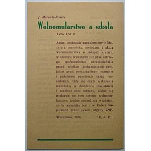 [DRUK REKLAMOWY]. Księgarni i Drukarni Katolickiej Sp. Akc., Katowice 1936. Masoneria i jej satelity...