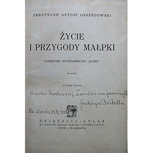"""OSSENDOWSKI FERDYNAND ANTONI. Życie i przygody małpki. Pamiętnik szympansiczki """"Kaśki"""". 48 rycin..."""