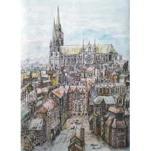 Dawid Masionek (ur. 1994), Pejzaż miejski z katedrą w Chartres, 2021