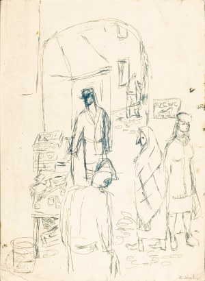 Waliszewski Zygmunt (1897-1936), Scena uliczna, lata 30. XX w.