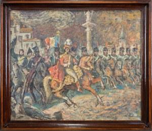 Wątorski Mieczysław (1903-1979), Książę Józef i Joachim Murat na Placu Zamkowym w Warszawie, 1965