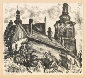 Jaźwiecki Franciszek (1900-1946), Biecz. Kościół i stare mury, 1933