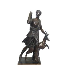 Ferdinand Barbedienne, Diana bogini łowów - wg kopii rzymskiej z Muzeum Luwr, XIX w.