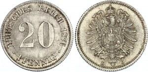 Germany - Empire 20 Pfennig 1876 D
