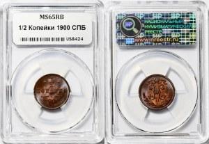 Russia 1/2 Kopek 1900 CПБ NNR MS65 RB