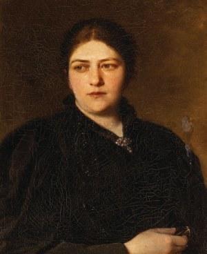 PORTRET DAMY W CZARNEJ SUKNI, k. XIX w.