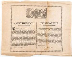 UWIADOMIENIE, Lwów 21.06.1782