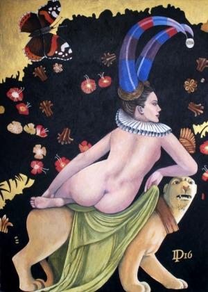 Daniel Porada, Naga kobieta na panterze w raju, 2016