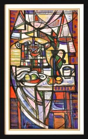 Eugeniusz GERLACH(ur. 1941), Martwa natura z ptaszkiem w klatce, 2004