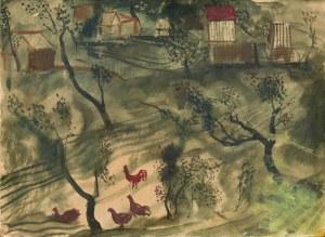 Andrzej MILWICZ (1905 - 1952), Pejzaż z kurami, 1945/1946