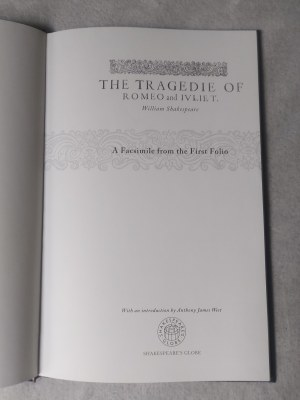 SHAKESPEARE WILLIAM - THE TRAGEDIE OF ROMEO AND IVLIET A Facsimile from the First Folio