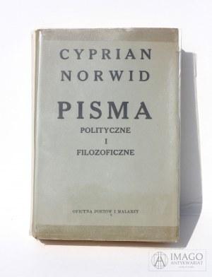 Cyprian Norwid PISMA POLITYCZNE I FILOZOFICZNE Miriam Oficyna Petów i Malarzy 1957