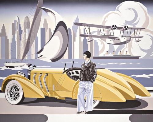 Tomasz Kostecki (ur. 1964), Kobieta i żółty Mercedes III, 2021