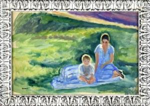 Irena WEISS – ANERI (1888-1981), W letnim słońcu – Portret piastunki z dzieckiem, ok. 1914