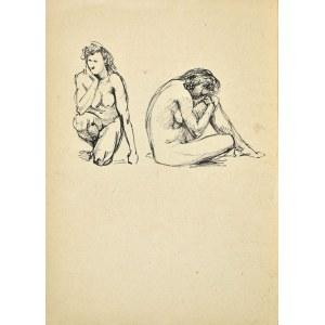 Ludwik MACIĄG (1920-2007), Studia aktu kobiety w dwóch pozach: klęczący akt kobiety i siedzący akt kobiety