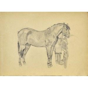 Ludwik MACIĄG (1920-2007), Szkic konia stojącego przy wozie i woźnicy