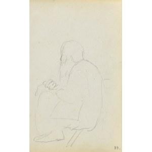 Jacek MALCZEWSKI (1854-1929), Siedzący starzec widziany z lewego boku, lekko od tyłu