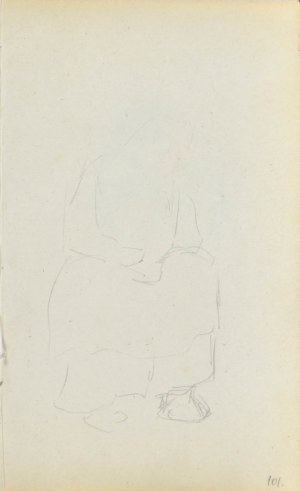 Jacek MALCZEWSKI (1854-1929), Głowa młodej kobiety w chuście - verso Siedząca kobieta - zarys - recto